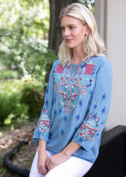 Tru Luxe - Embroidered Henley Tunic