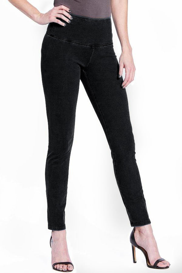 SOLID FRENCH TERRY LEGGING - BLACK DENIM