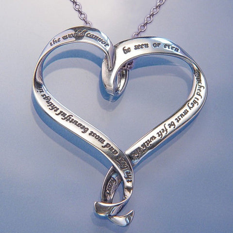 Best and Most Beautiful (Helen Keller) - Heart Ribbon Necklace