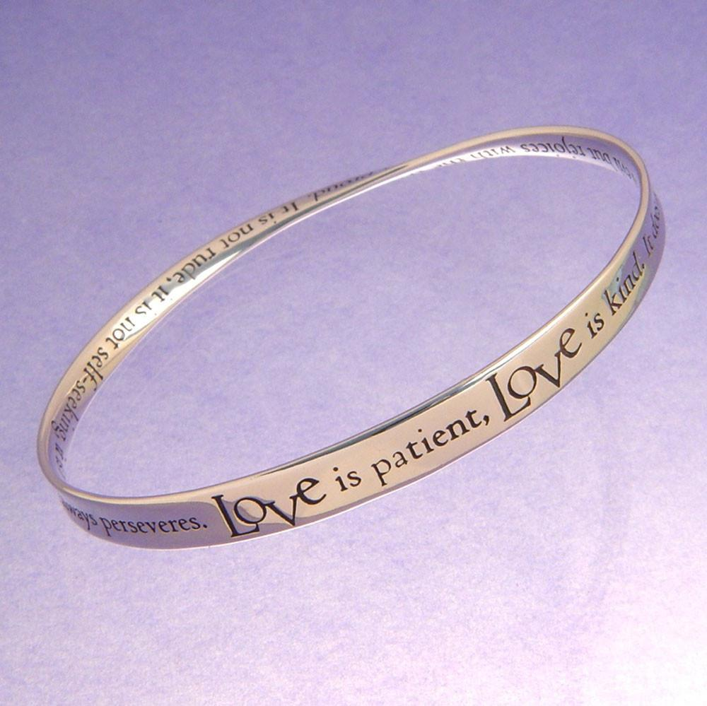 Love is Patient, Love Is Kind Mobius Bracelet (First Corinthians)