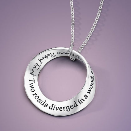 Two Roads Diverged in a Wood (Robert Frost) - Mobius Necklace