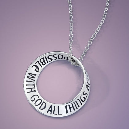 All Things Are Possible with God (Mark 10:27) - Mobius Necklace