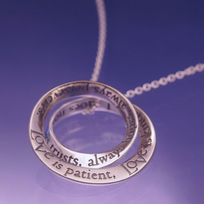 Corinthians Love Is Patient -  Double Mobius Necklace