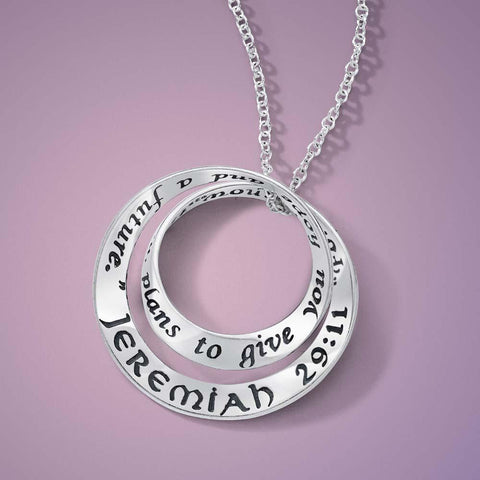 For I Know the Plans I Have For You (Jeremiah 29:11) - Double Mobius Necklace