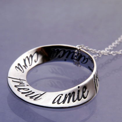 Friend in Ten Languages - Mobius Necklace