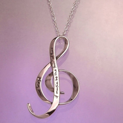 If Music Be The Food of Love - G Clef Necklace
