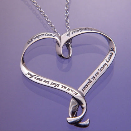 Jane Austen's Prayer - The Importance of Every Day - Heart Ribbon Necklace