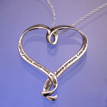 Love Is Patient, Love Is Kind (First Corinthians) - Heart Ribbon Necklace