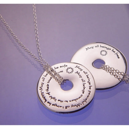 Metta Prayer May All Beings Be Free - Pi Disc Necklace