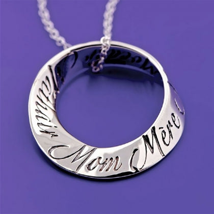 Mom in Ten Languages - Mobius Necklace