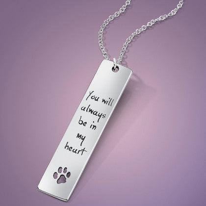 You Will Always Be In My Heart - Sterling Silver Paw Print Necklace