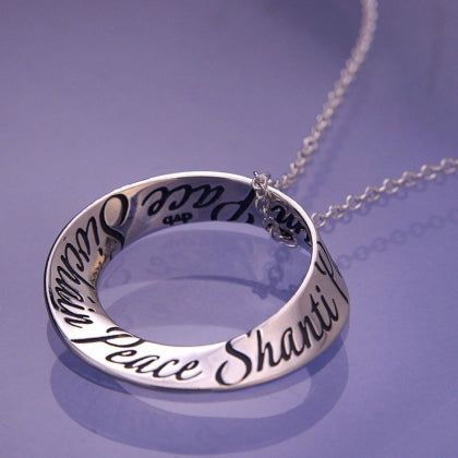 Peace in Fourteen Languages - Mobius Necklace