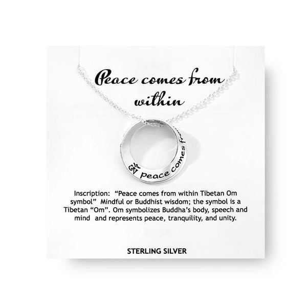 Peace Comes from Within (with Tibetan OM Symbol) - Mobius Necklace