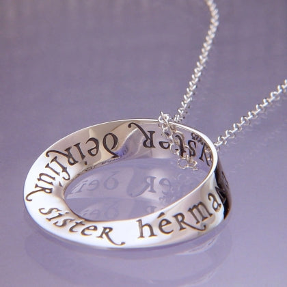 Sister in Eight Languages - Mobius Necklace