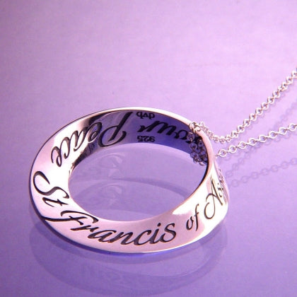 St Francis Prayer of Peace - Mobius Necklace