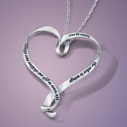 We Want to Gift Our Children Two Things - Heart Ribbon Necklace