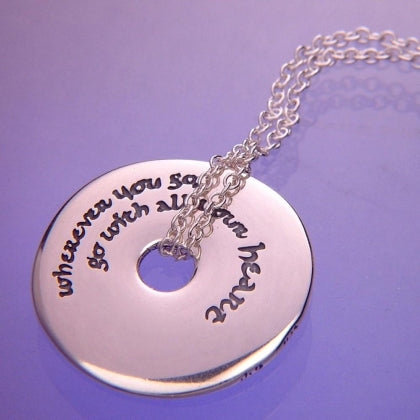 With All Your Heart (Confucius) - Pi Disc Necklace