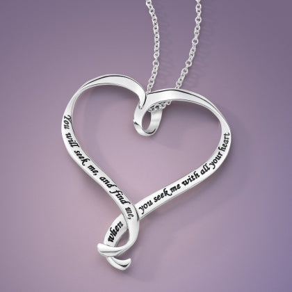 You Will Seek Me And Find Me (Jeremiah) - Heart Ribbon Necklace