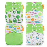 4pcs of pocket Cloth Diaper One Size Fit All - Happy flute - Cute Eco Baby