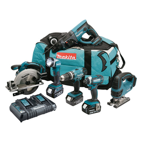 Makita DLX6068PT 18v LXT 6 Piece Tool Kit including 3x 5.0Ah Batteries inc Twin Charger - Zimtechtools