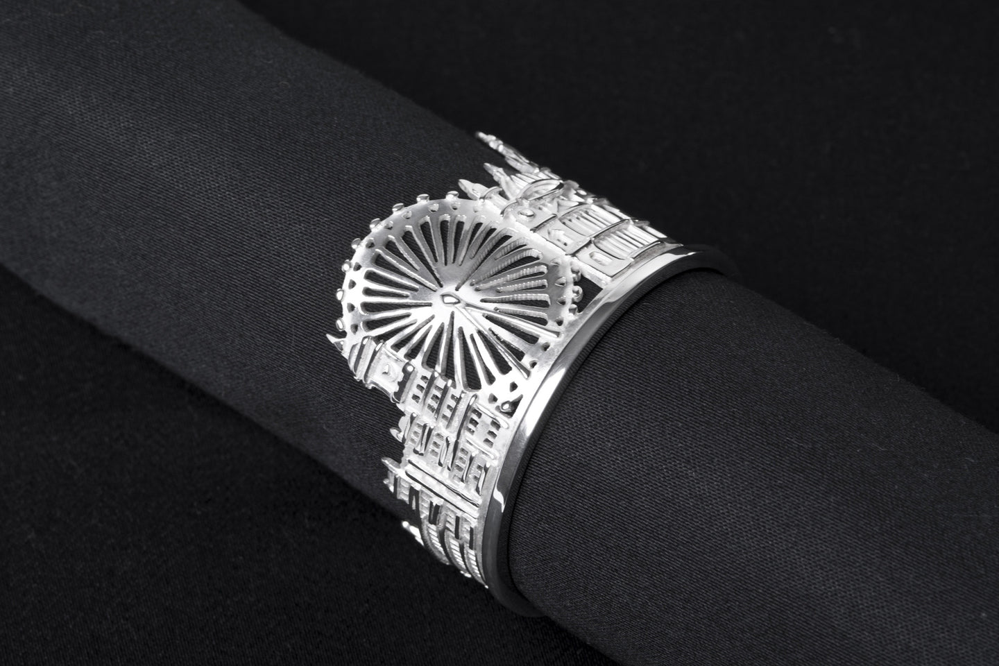 Silver London Skyline London Eye Napkin Ring by Jen Ricketts
