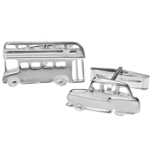 Bus and Taxi Cufflinks in Silver by Jen Ricketts