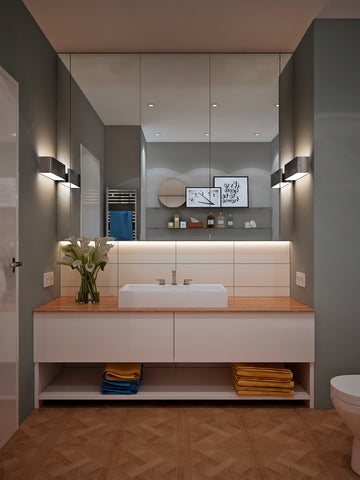 Modern vanities don't always have to be wall mounted. This floor standing example has lots of storage.