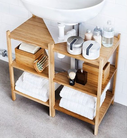Optimize your bathroom area by using pedestal sink storage.
