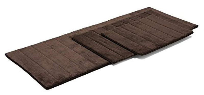 Simple Deluxe Luxury Memory Bath Rug SET, Dark Chocolate