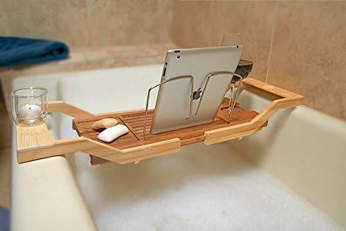 Superbe Luxe Expandable Bamboo Bathtub Tray Caddy With Reading Rack And Glass Holder