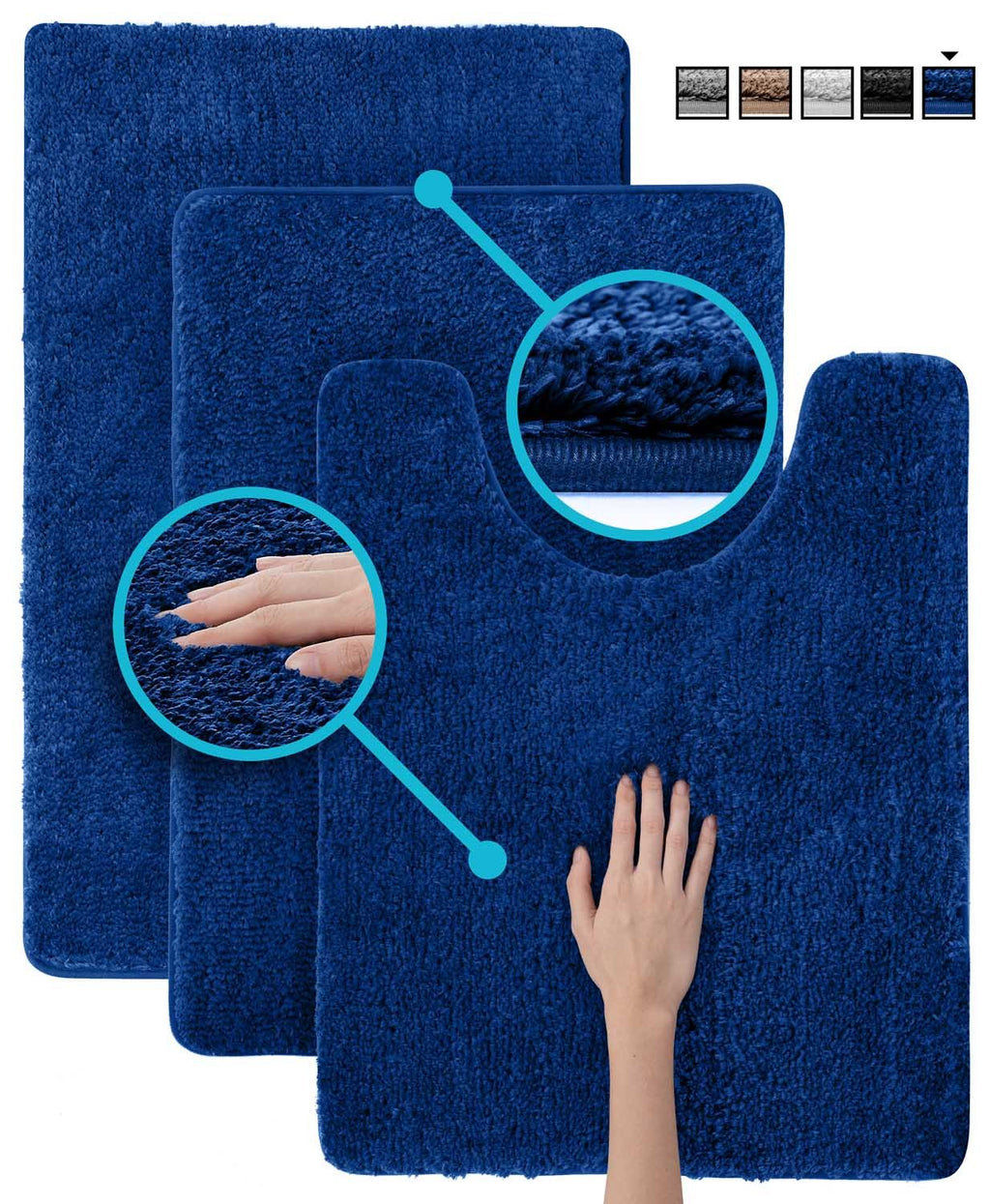 3 pc Set Luxuriously Plush Microfiber Bathroom Rugs