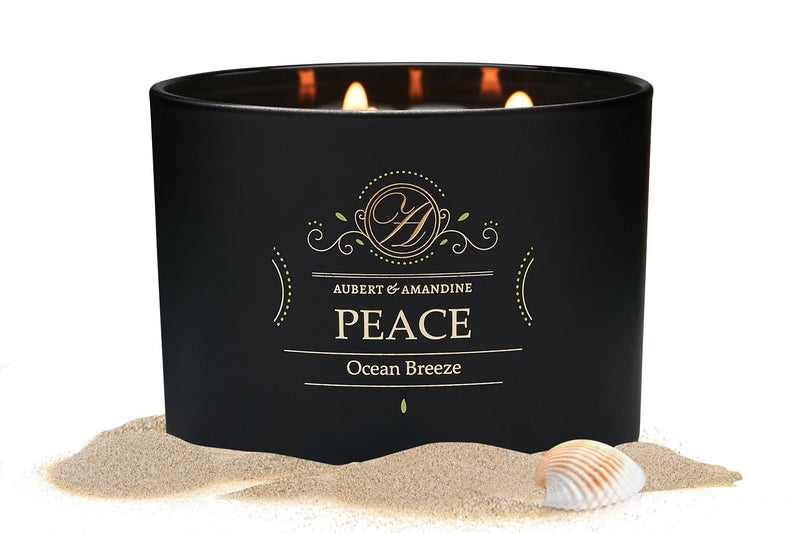 Aubert & Amandine Large Aromatherapy Scented Candle w 3 Wicks