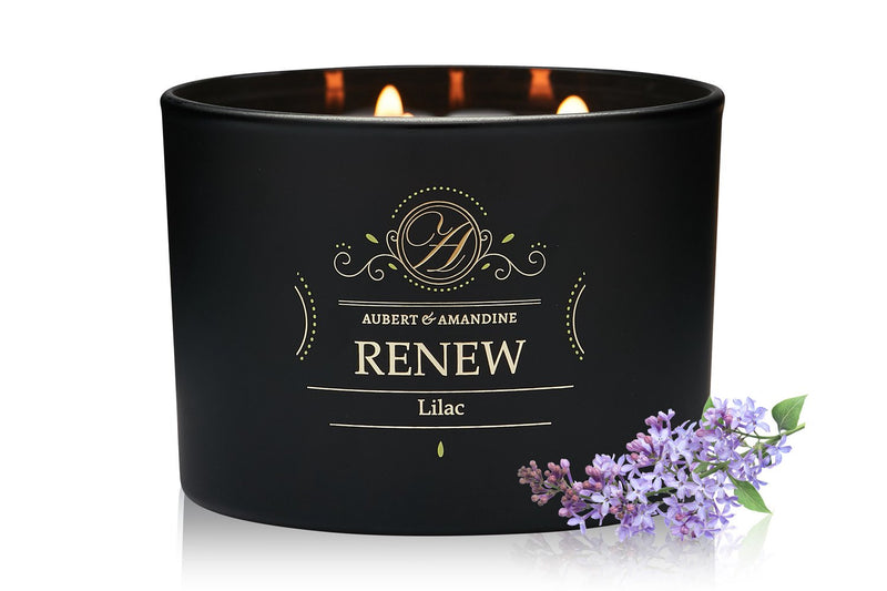 Aubert & Amandine Luxury Scented 3 Wick Candle for Stress Relief & Relaxation High Intensity Aromatherapy