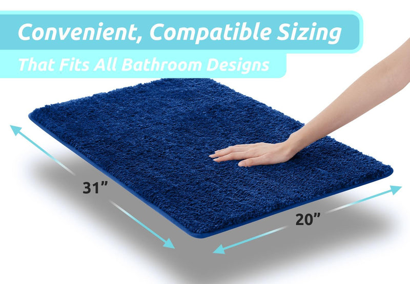 Luxe Rug Luxuriously Plush Microfiber Bathroom Rugs Non Slip Backing 19.5 x 31.5 In.