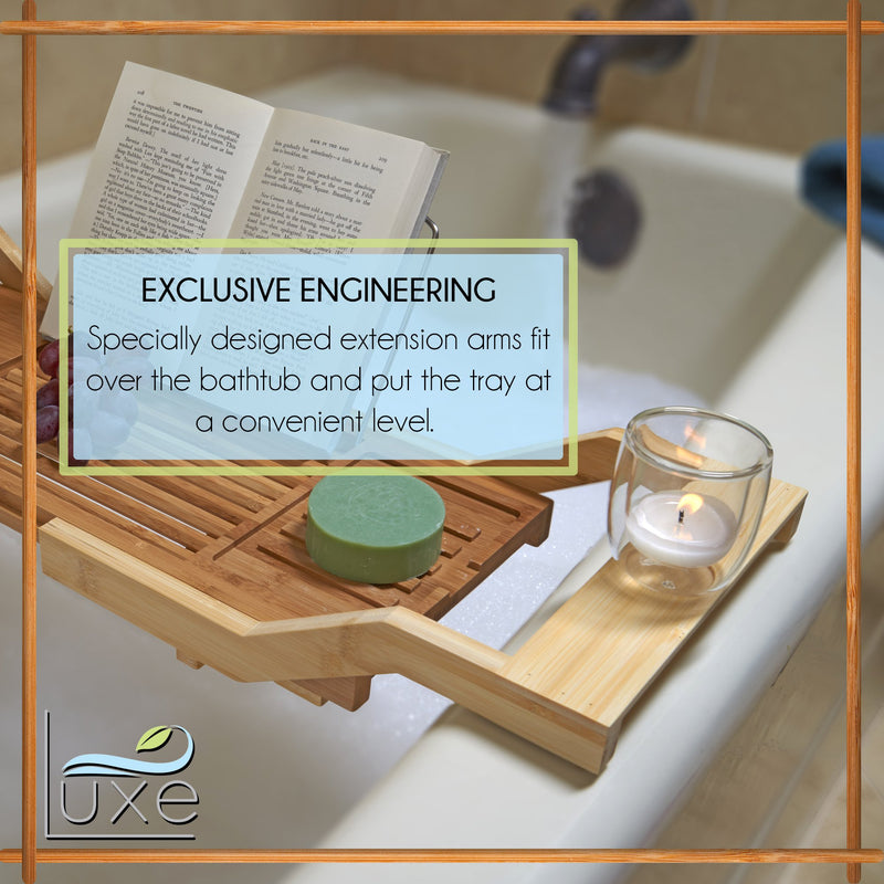 Expandable Bamboo Bathtub Tray Caddy with Reading Rack and Glass Holder