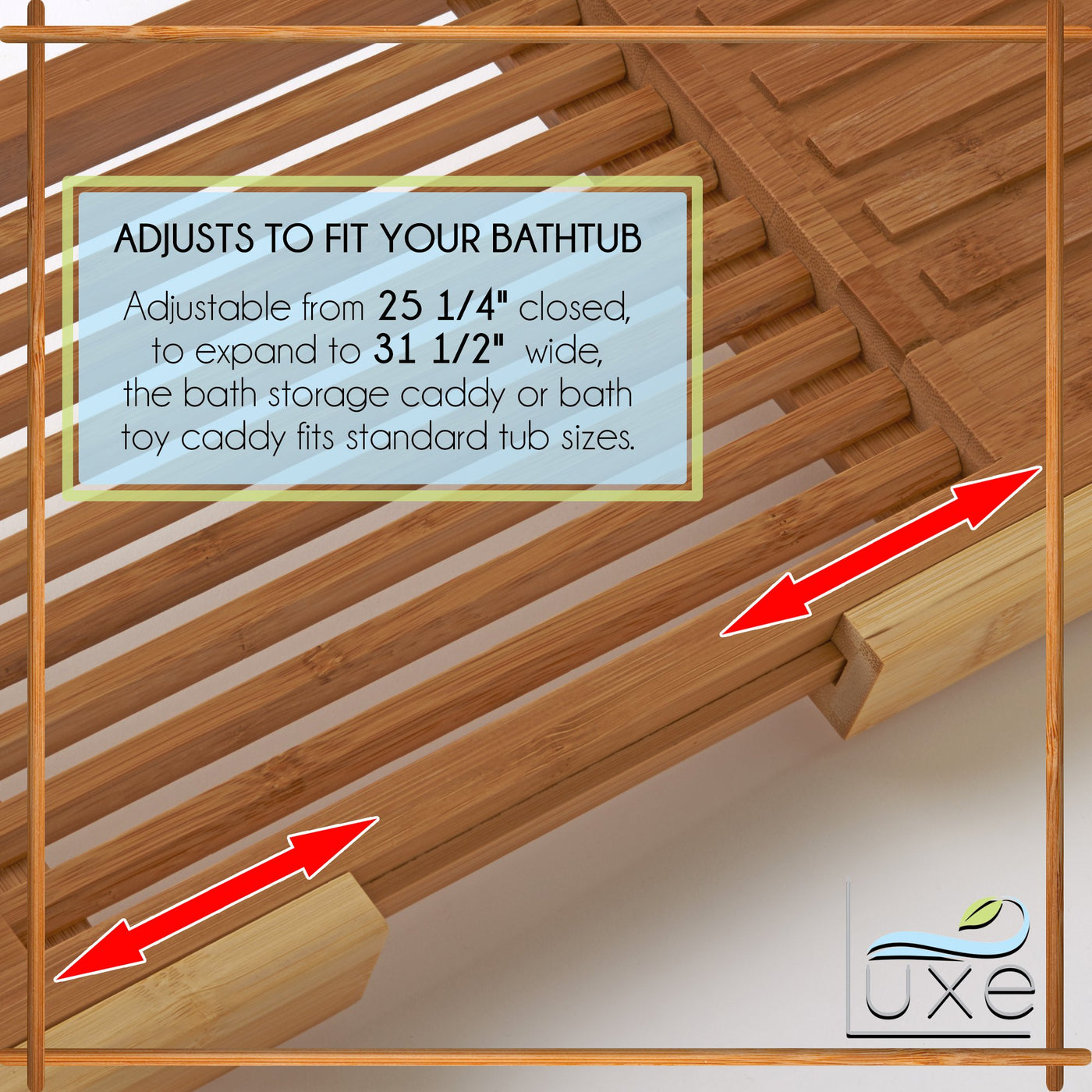 Luxe Expandable Bamboo Bathtub Tray Caddy with Reading Rack and ...