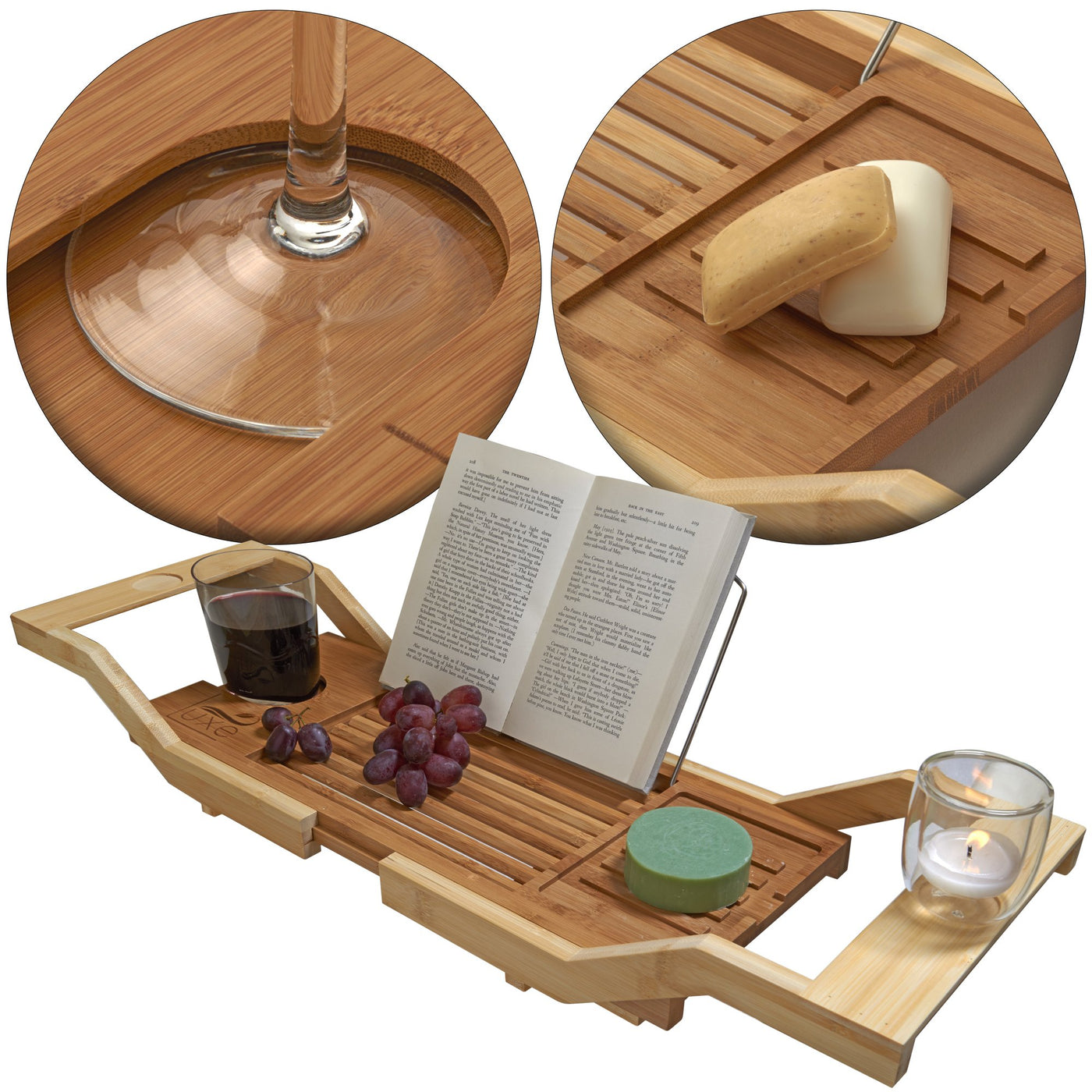 luxe expandable bamboo bath tray caddy with reading rack and glass holder