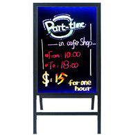 A-Frame Sidewalk Sandwich Message Chalkboard Sign – LED Illuminated  Glass Board