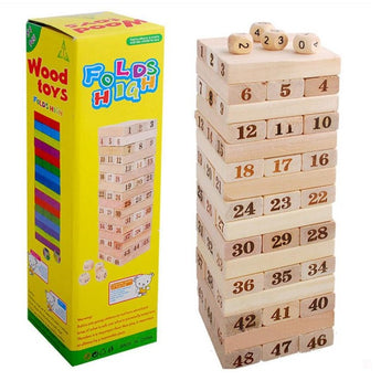 Wooden building blocks stacked high leisure wooden toys