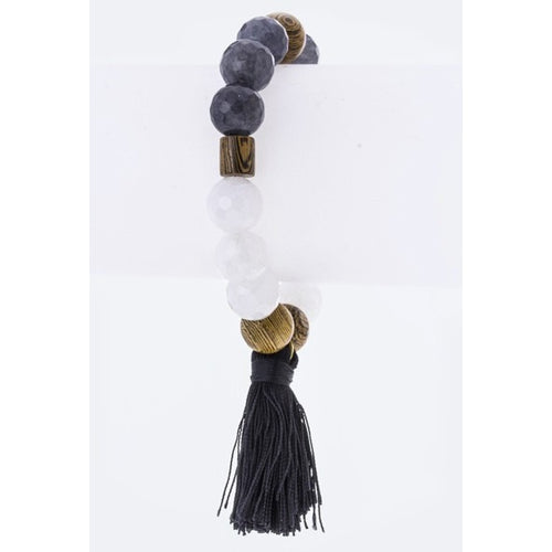 Wood & Black Bead Bracelet with Tassel