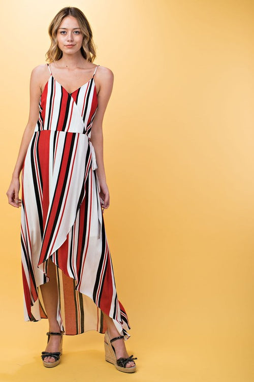 Blayke Striped Maxi Dress - Red