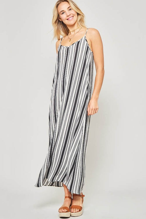 Addyson Striped Maxi- Black