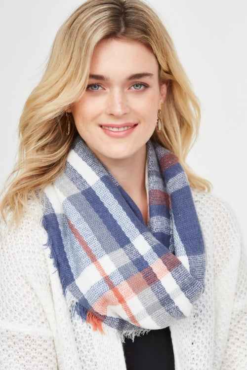 Plaid Navy Infinity Scarf