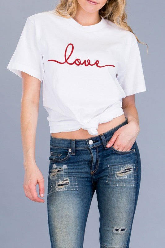 First Love Graphic Tee- Red Print