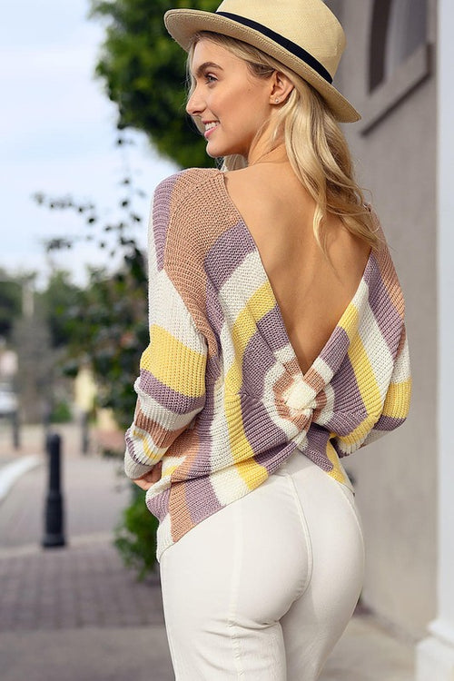 Knit Top with Twist Back