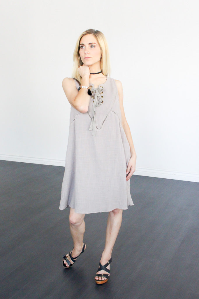Taupe Lace-Up Tunic