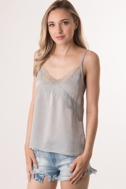 Lace Camisole in Pewter