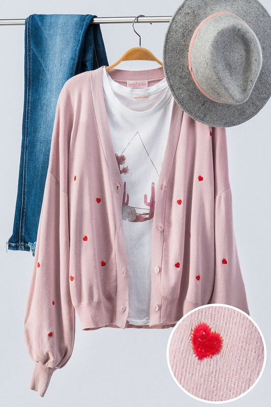 Mini Heart Cardigan in Dusty Pink