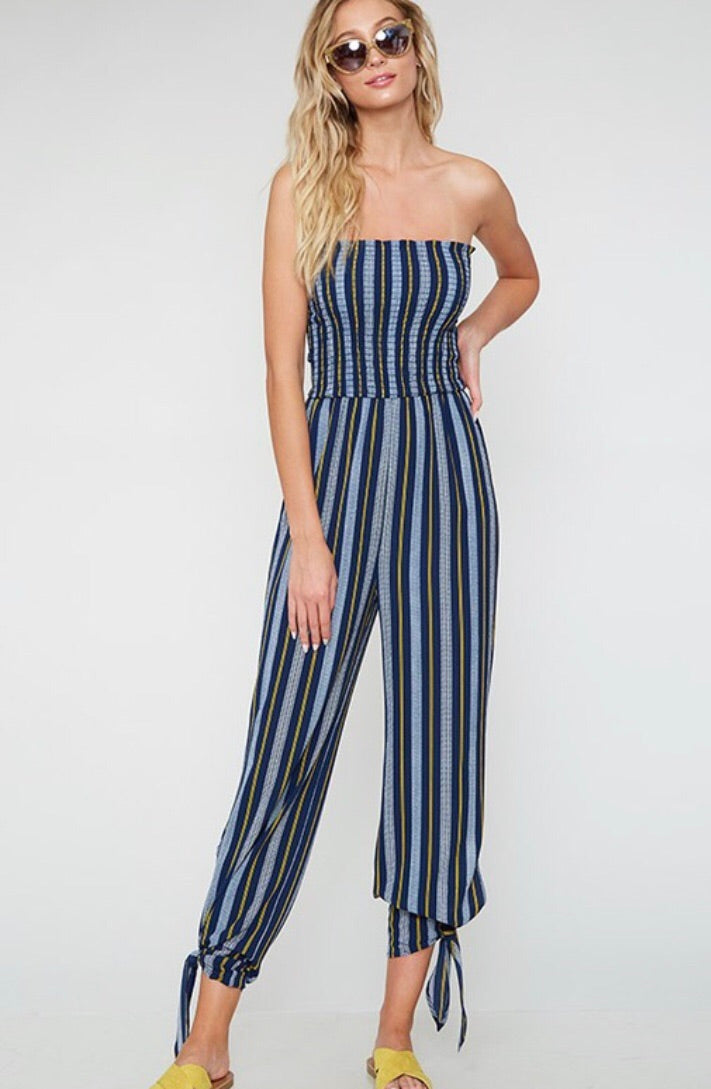 Navy & Lemon Striped Jumpsuit