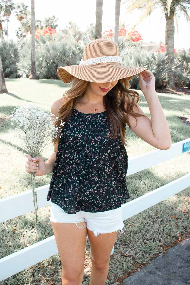 Tie Back Floral Top